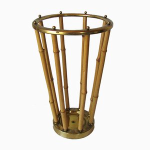 Brass and Bamboo Umbrella Stand, 1950s