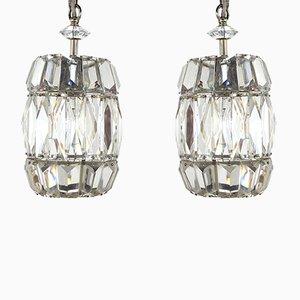 Lampes à Suspension Vintage en Cristal de Verre par Bakalowits & Söhne, Set de 2