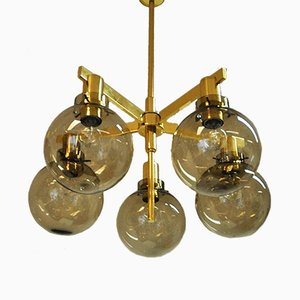 Model T348/5 Smoked Glass Pastoral Chandelier with 5 Arms by Hans-Agne Jakobsson, 1960s