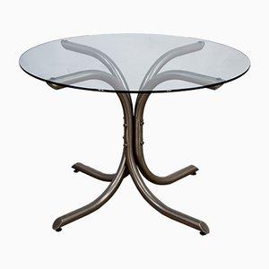 Mesa de comedor italiana de acero y vidrio, años 70