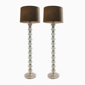 Swedish Glass Floor Lamps, 1970s, Set of 2
