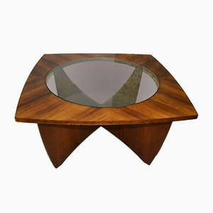 Glass & Solid Wood Coffee Table, 1960s