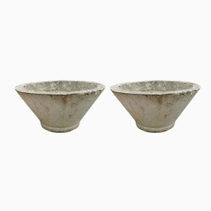 Concrete Garden Pots, 1970s, Set of 2