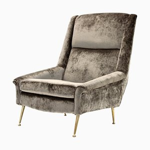 Italian Grey Velvet Armchair, 1960s