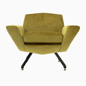 Mid-Century Italian Acid Green Velvet Armchair, 1960s