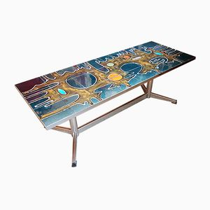 Large Belgian Tiled Coffee Table, 1960s
