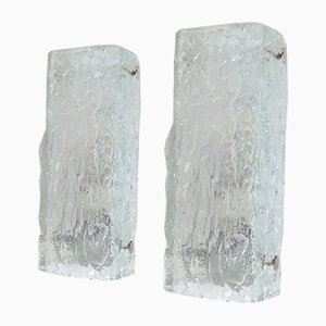 Apliques de cristal de hielo de Kaiser Leuchten, años 60. Juego de 2
