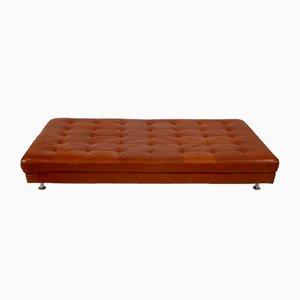 Sofá cama de cuero y metal cromado, años 80