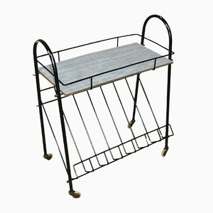 Resopal Serving Bar Cart with Newspaper Rack, 1960s