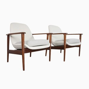 Danish Teak and Wool Lounge Chairs from OPE, 1960s, Set of 2