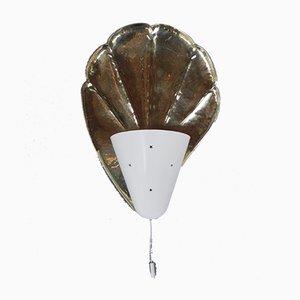 Muschelförmige Vintage Wandlampe aus Messing