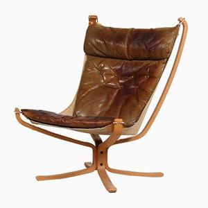Falcon Chair aus kastanienbraunem Leder mit hoher Lehne von Sigurd Ressell für Vatne Møbler, 1970er