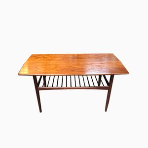 Vintage Danish Coffee Table with Magazine Rack
