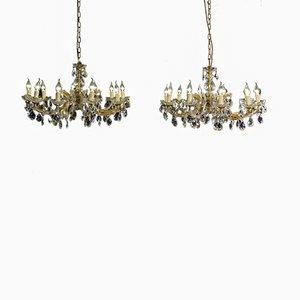 Lámpara de araña estilo Maria Theresa antigua de cristal