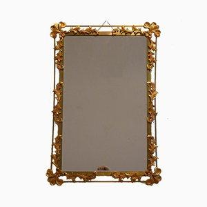 Espejo de pared de metal dorado, años 50