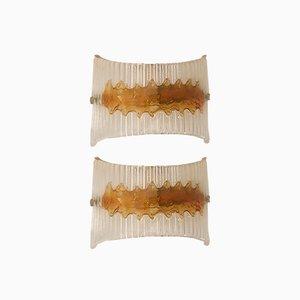 Italian Murano Glass Sconces by Mazzega, 1970s, Set of 2