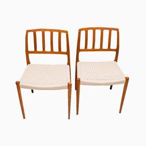 Modell 83 Stuhl aus Teak von Niels O Møller für J.L. Møllers, 1970er, 2er Set