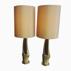 Carved Gilt Brass Lamps from Laurel and Company, 1970s, Set of 2