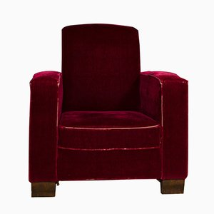 Art Deco Velvet Club Chair