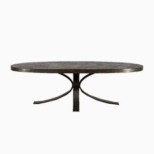 Table Basse Ovale Brutaliste, 1970s