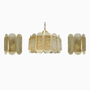 Lámpara colgante danesa y dos lámparas de pared de Vitrika, años 70. Juego de 3