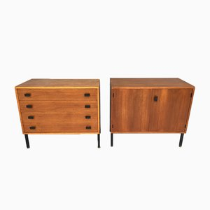 Chest of Drawers & Cabinet by Antoine Philippon & Jacqueline Lecoq, 1950s, Set of 2