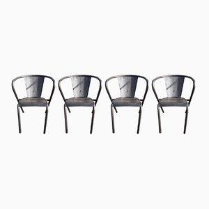 Vintage Armlehnstühle aus Metall von Tolix, 4er Set