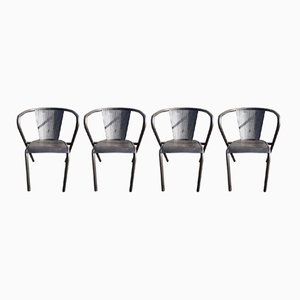 Vintage Metal Armchairs from Tolix, Set of 4