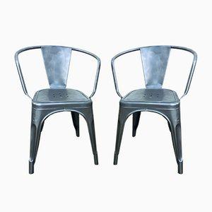 Industrielle Modell A Vintage Armlehnstühle aus Metall von Tolix, 2er Set