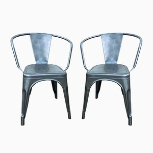 Vintage Industrial Metal Model A Armchairs from Tolix, Set of 2