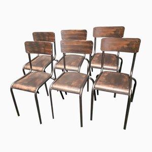 Chaises d'École Noires Industrielles, 1960s, Set de 6