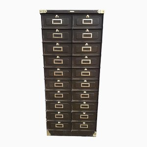 French Industrial Brass Filing Cabinet from Stafor, 1920s