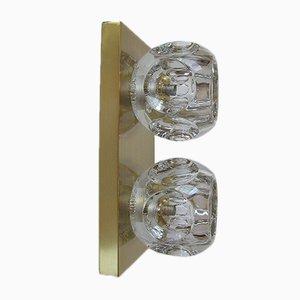 Lámpara de pared vintage de vidrio y latón de Peill & Putzler, años 70