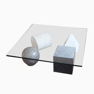 Metaphora Coffee Table in Marble & Glass by Leila & Massimo Vignelli, 1970s