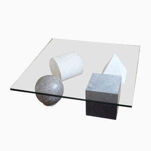 Tavolino da caffè Metaphore in marmo e vetro di Leila e Massimo Vignelli, anni '70