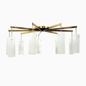 Lámpara de araña vintage XL de latón y vidrio opalino de Kaiser Leuchten