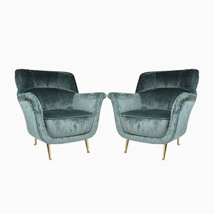 Mid-Century Italian Lounge Chairs from ISA Bergamo, 1950s, Set of 2