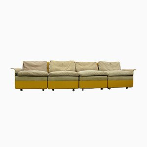 Four-Seat Leather Sofa from Wolfgang Feierbach, 1960s