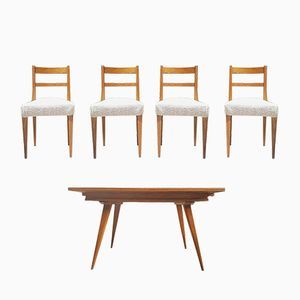 Mid-Century Oak Table & 4 Chairs, 1960s