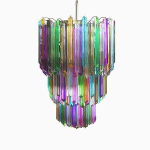 Lámpara de araña italiana grande de cristal de Murano multicolor de Mazzega, 1982