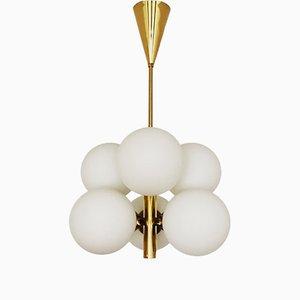 Sputnik Brass & Opaline Glass Chandelier from Kaiser Leuchten, 1960s