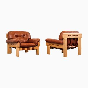 'Africa' Leather Armchairs by Esko Pajamies for Asko Oy, 1970s, Set of 2