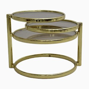 Brass-Plated Swivel Coffee Table, 1970s