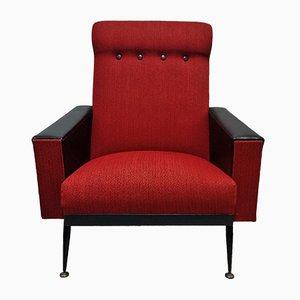 Französischer rot-schwarzer Armlehnstuhl, 1960er