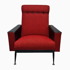 French Red and Black Armchair, 1960s