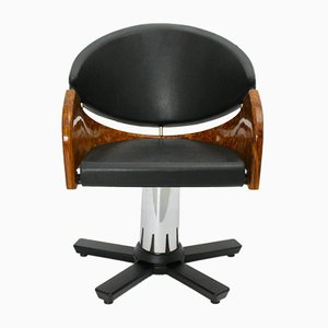 Italian Modern Black and Brown Swivel Chair, 1989