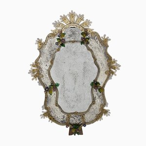 Venetian Mirror with Colored Glass Flowers, 1940s