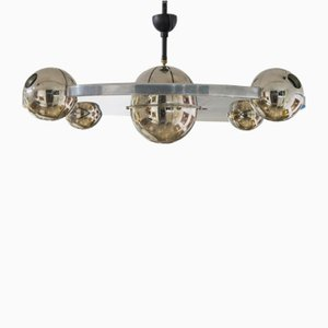 Steel Suspension Saucer Ceiling Lamp from Yonel Lebovici, 1960s