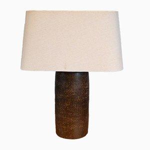 Lámpara de mesa brutalista escandinava de cerámica marrón, años 60