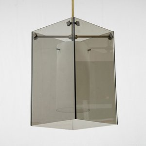 Glass and Brass Pendant Lamp by Max Ingrand, 1960s